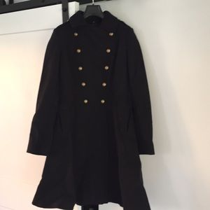 Tahari black wool pea military coat black 6